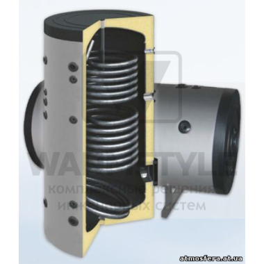 Вертикальный бойлер косвенного нагрева с двумя теплообменниками Sunsystem SON 2000 l (2000 литров). С функцией установки интеллектуального блока управления.